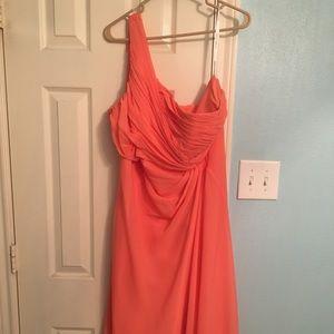 David's Bridal Chiffon 1 Shoulder Strap Dress